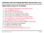 criteria for software metrics selection cont2
