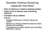 domestic violence screening separate interviews
