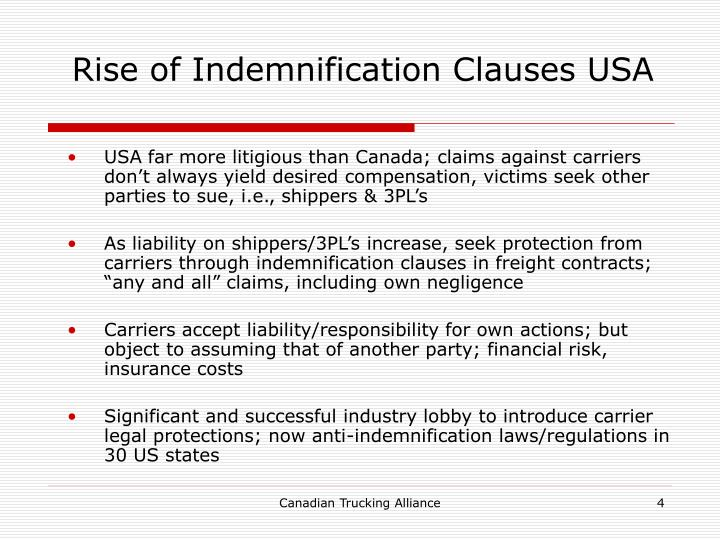 Rise of Indemnification Clauses USA