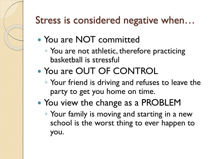Stress is considered negative when…