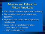 advance and retreat for african americans