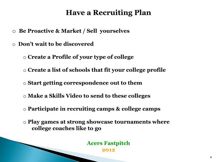 Have a Recruiting Plan