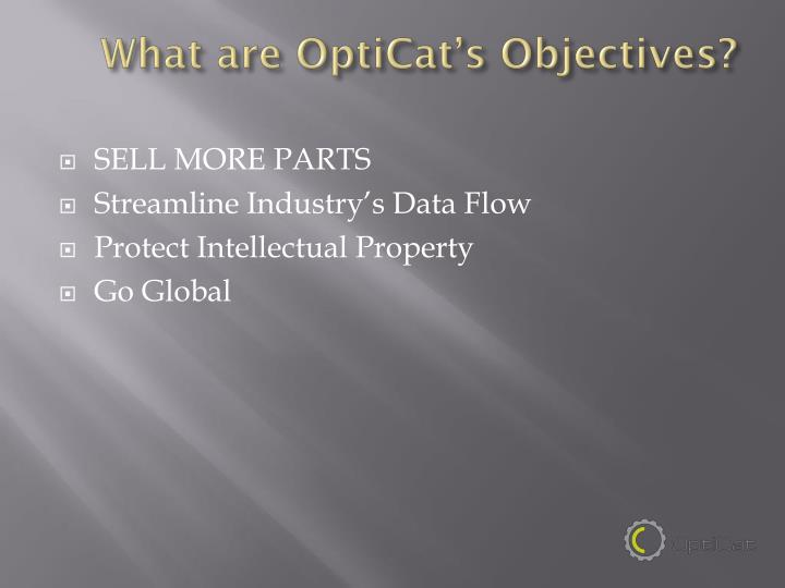 What are OptiCat's Objectives?
