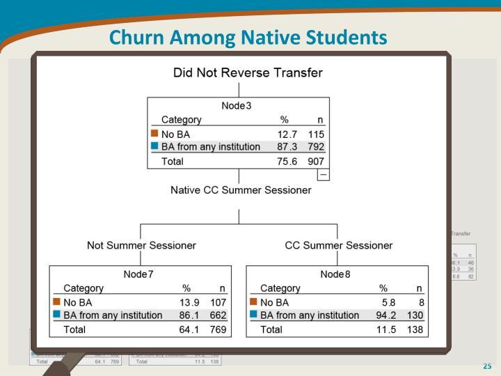 Churn Among Native Students