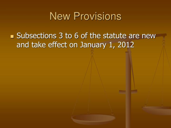 New Provisions