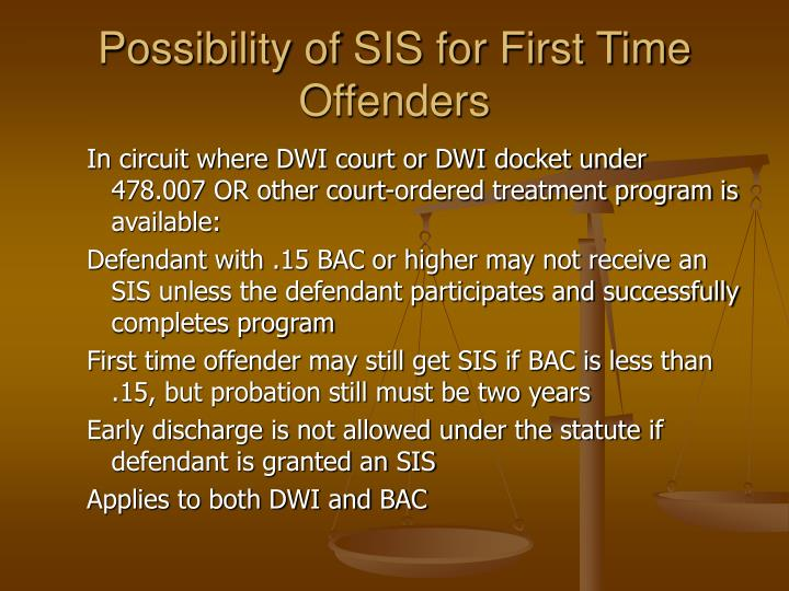 Possibility of SIS for First Time Offenders