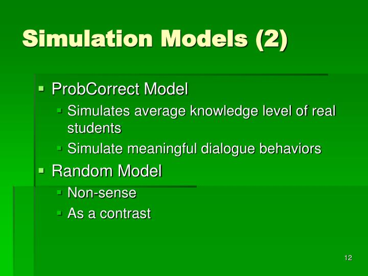 Simulation Models (2)