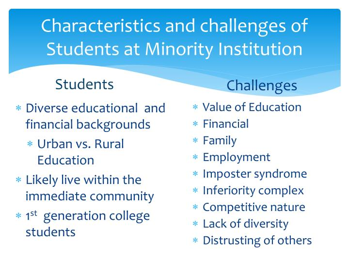 Characteristics and challenges of Students at Minority Institution