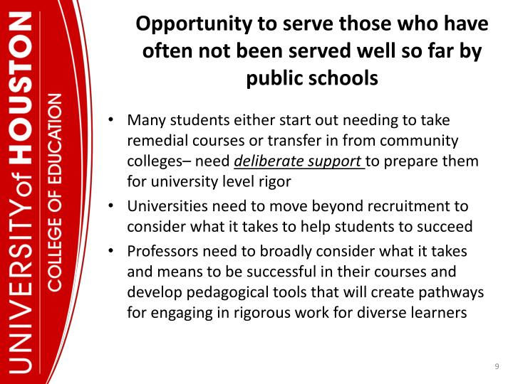 Opportunity to serve those who have often not been served well so far by public schools