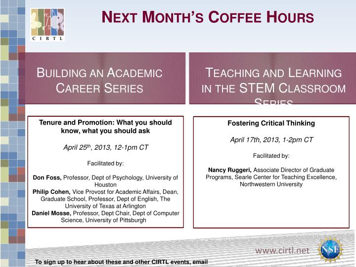 Next Month's Coffee Hours