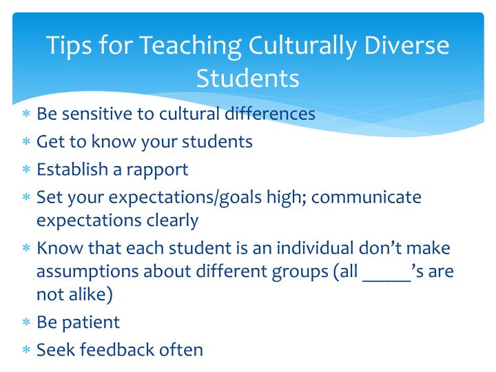 Tips for Teaching Culturally Diverse Students
