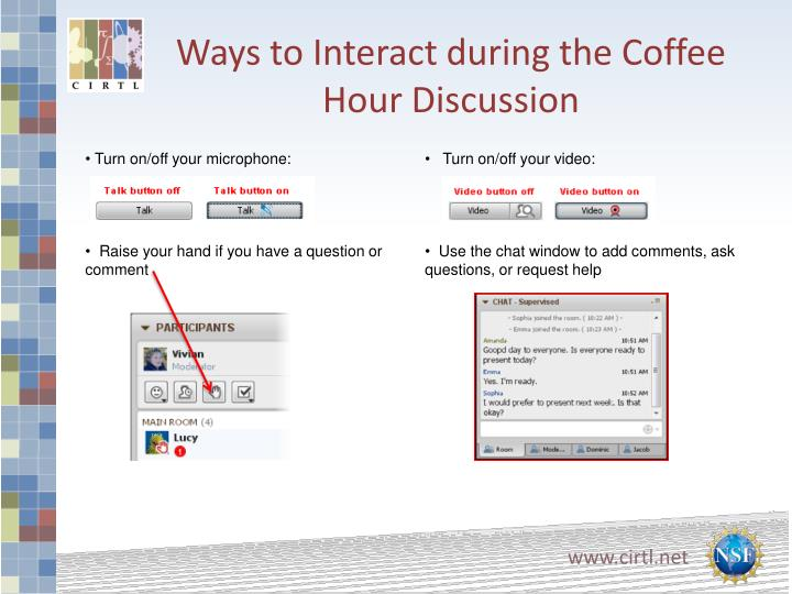 Ways to interact during the coffee hour discussion