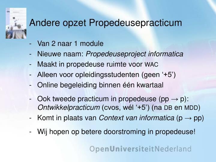 Andere opzet Propedeusepracticum