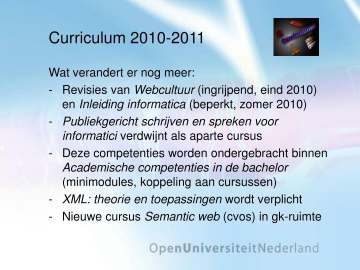 Curriculum 2010-2011