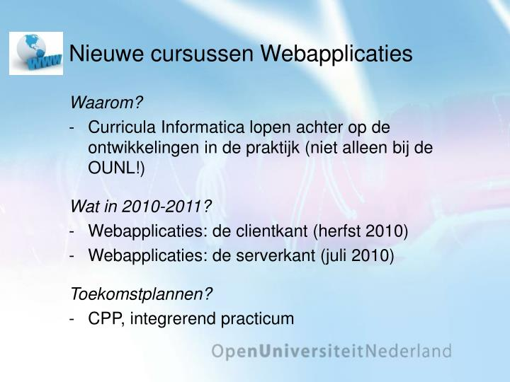 Nieuwe cursussen Webapplicaties
