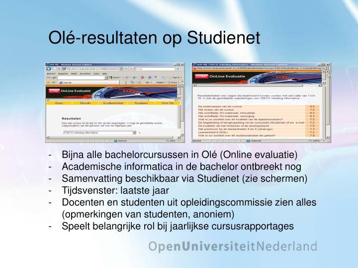 Olé-resultaten op Studienet
