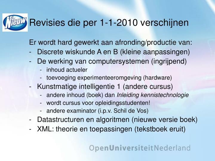Revisies die per 1 1 2010 verschijnen