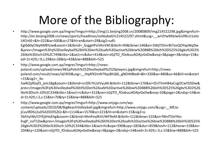 More of the Bibliography: