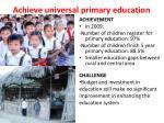 achieve universal primary education