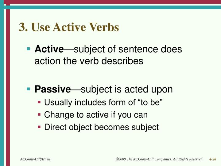 3. Use Active Verbs