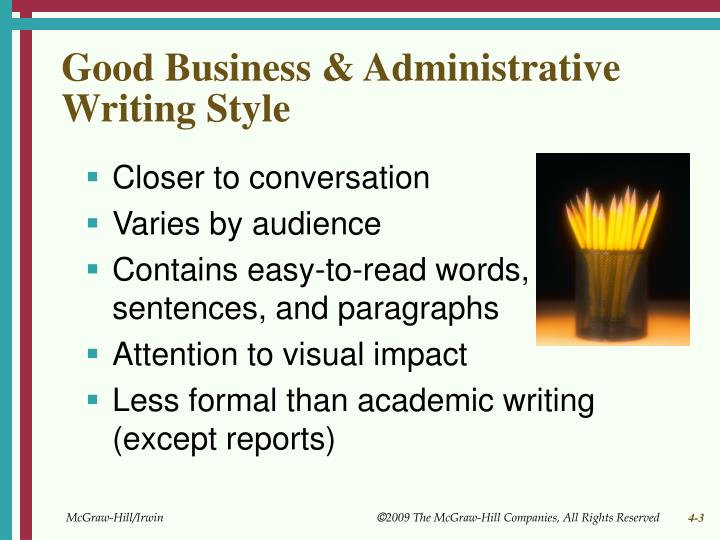 Good business administrative writing style