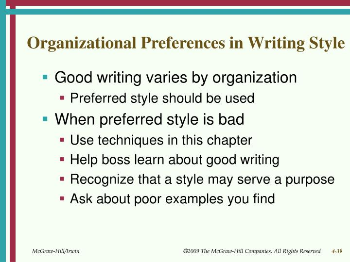 Organizational Preferences in Writing Style