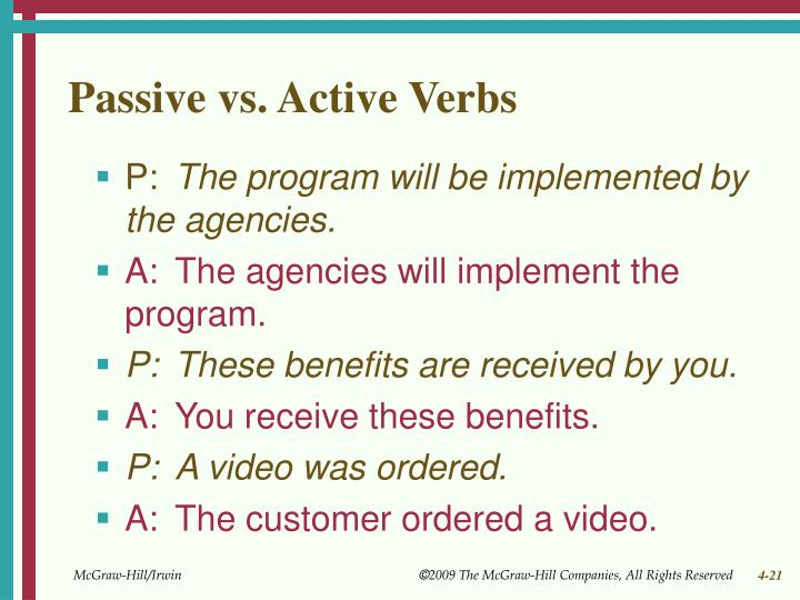 Passive vs. Active Verbs