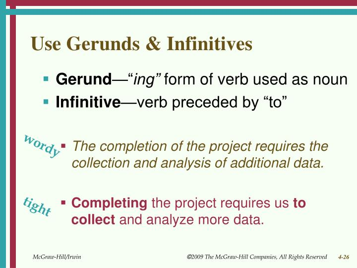 Use Gerunds & Infinitives