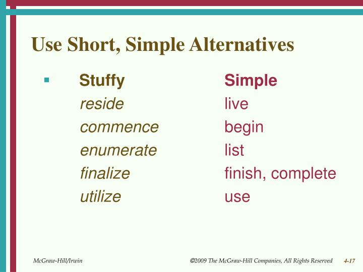 Use Short, Simple Alternatives
