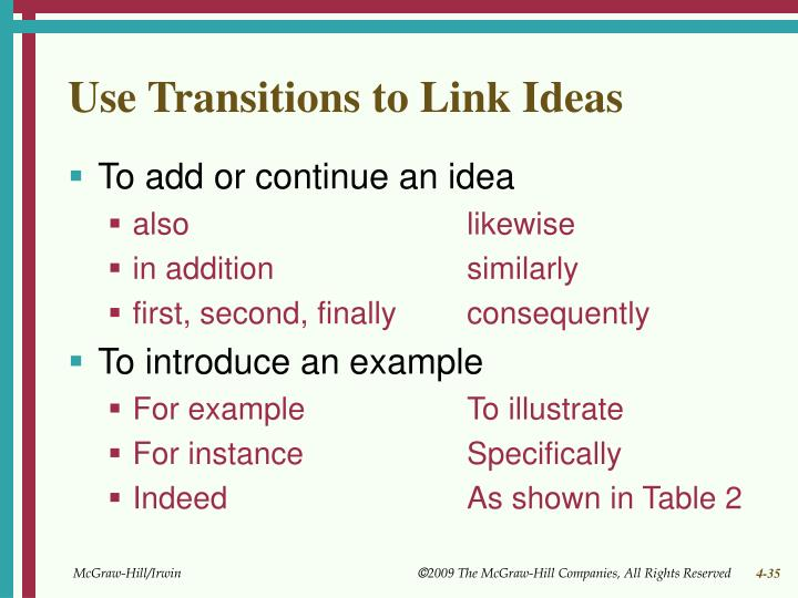 Use Transitions to Link Ideas