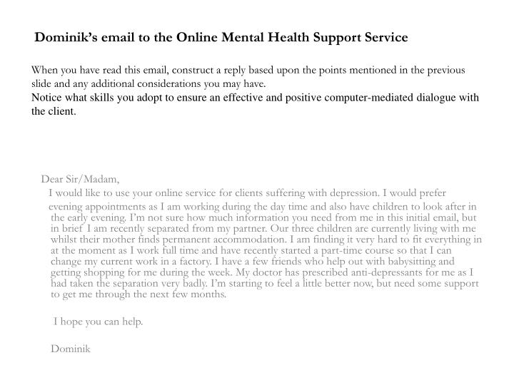 Dominik's email to the Online Mental Health Support Service