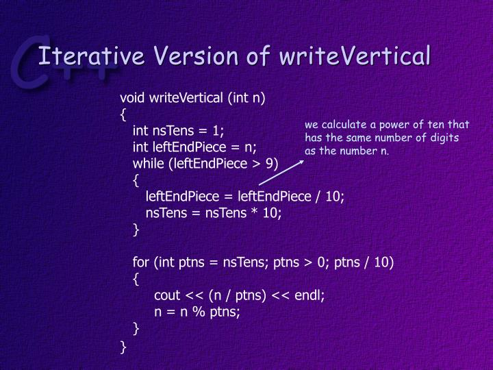 Iterative Version of writeVertical