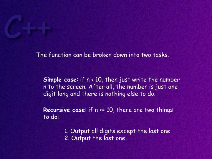The function can be broken down into two tasks.