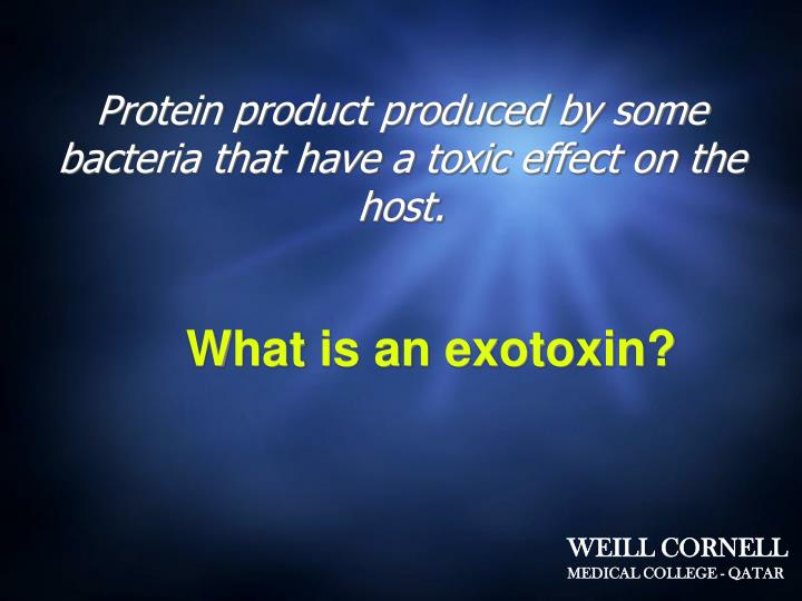Protein product produced by some bacteria that have a toxic effect on the host.