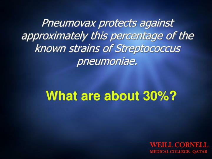 Pneumovax protects against approximately this percentage of the known strains of Streptococcus pneumoniae.