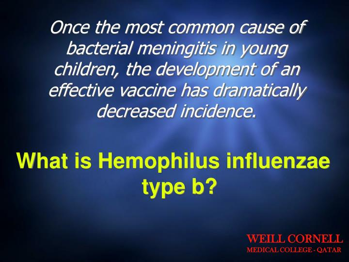 Once the most common cause of bacterial meningitis in young children, the development of an effective vaccine has dramatically decreased incidence.