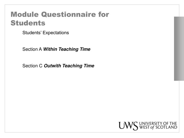 Module Questionnaire for Students