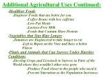 additional agricultural uses continued