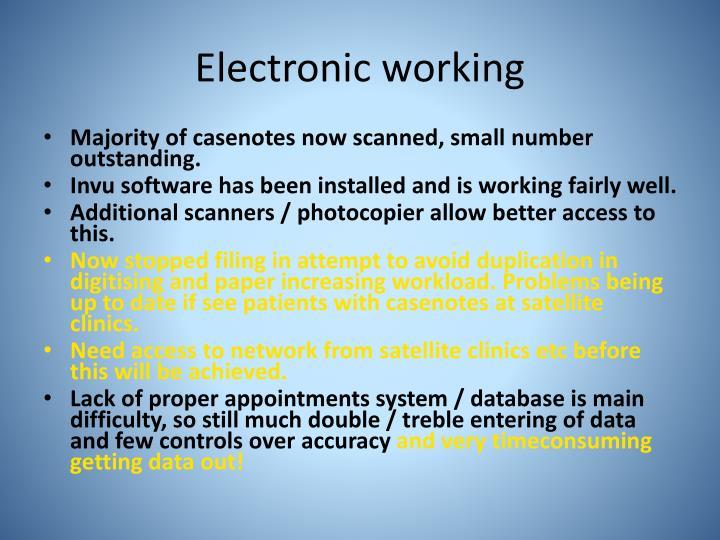 Electronic working