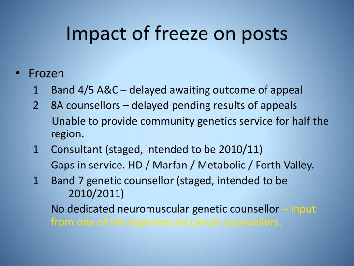 Impact of freeze on posts