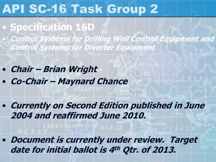 Api sc 16 task group 2