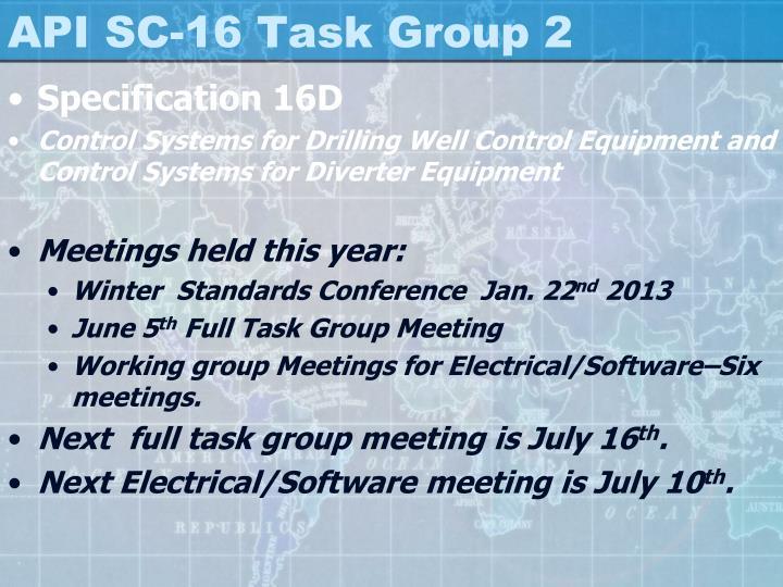Api sc 16 task group 21