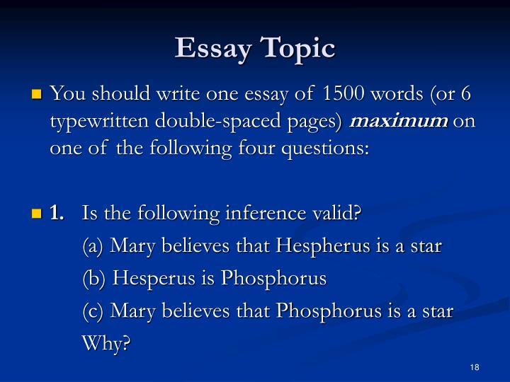 Essay Topic