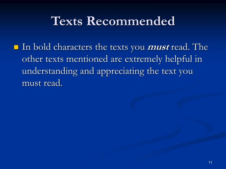 Texts Recommended