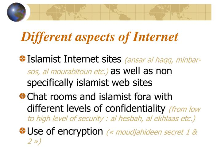 Different aspects of Internet
