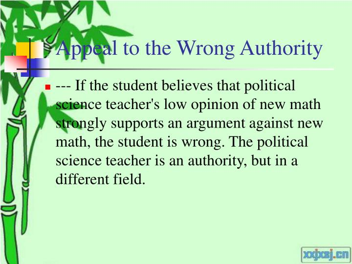 Appeal to the Wrong Authority