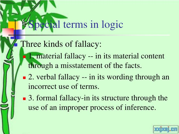 Special terms in logic