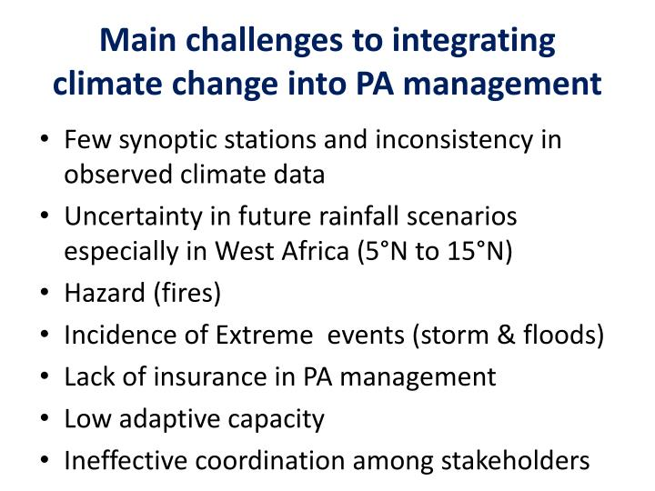 Main challenges to integrating climate change into PA management