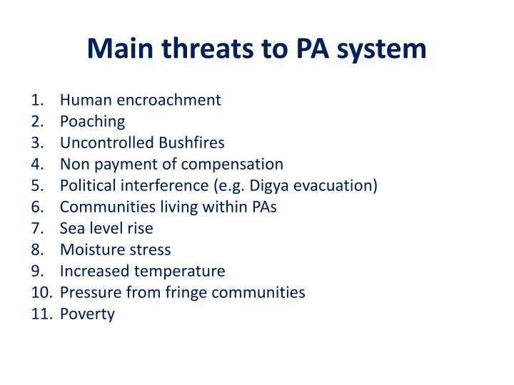 Main threats to PA system