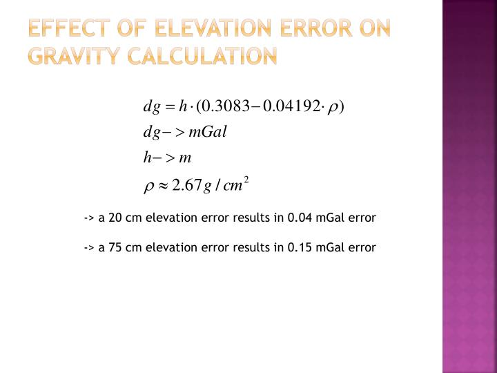 Effect of elevation error on gravity calculation